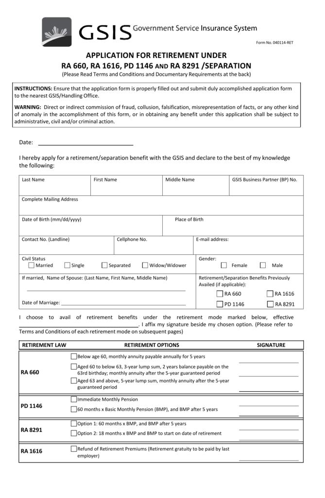 Application For Retirement Under Deped Ncr