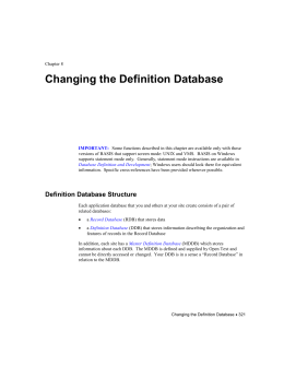 DLM Chapter 8: Changing the Definition Database