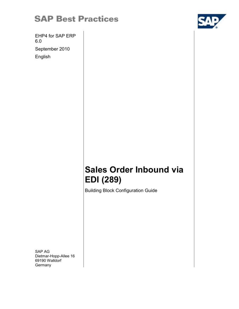 Sales Order Inbound via EDI