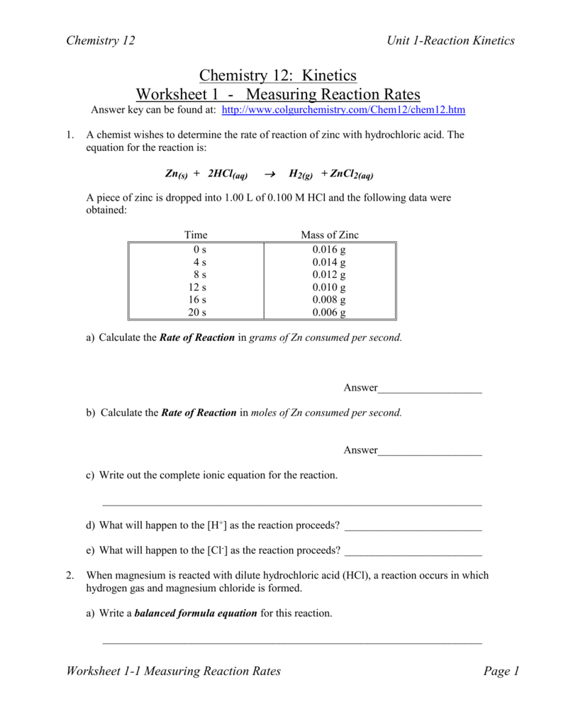 Kinetics Worksheet 1 - Westgate Mennonite Collegiate