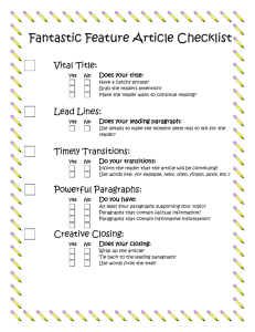 Fantastic Feature Article Checklist