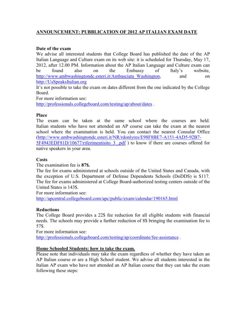 announcement: pubblication of 2012 ap italian exam date