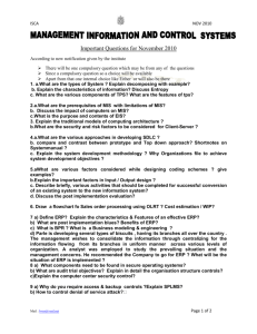 ISCA NOV 2010 Important Questions for November 2010 According to