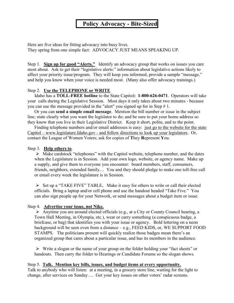 advocacy paper topics