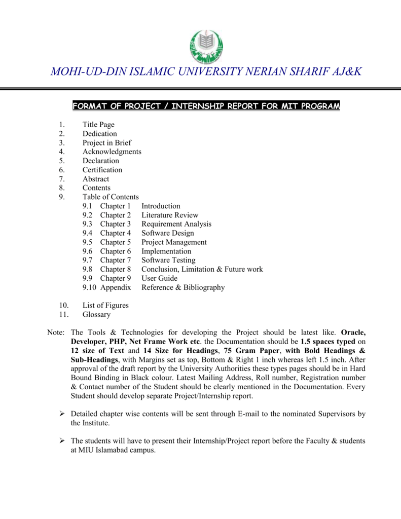 Format of internship report for mit program mohi ud 1betcityfo Choice Image