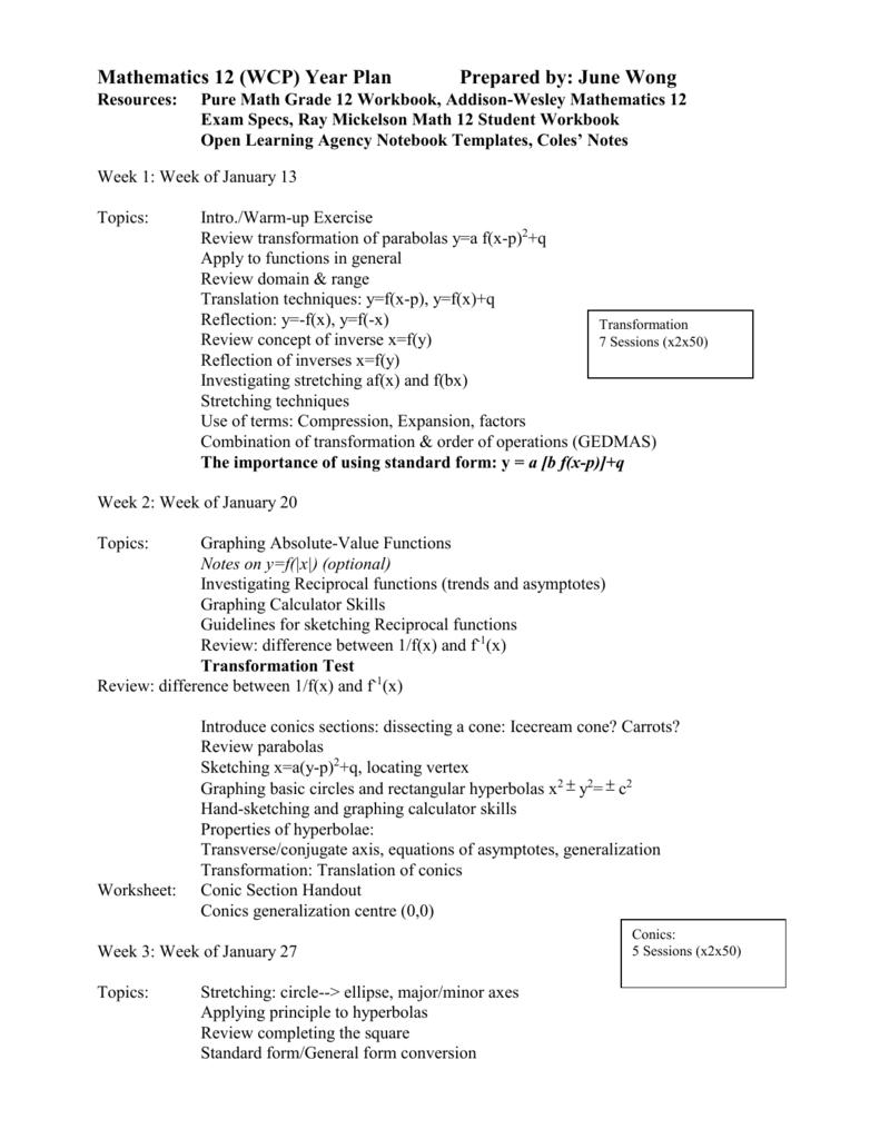 Pmath 12 Course Outline