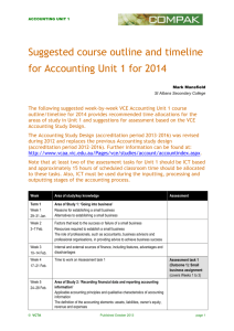 ACCOUNTING UNIT 1 Suggested course outline and timeline for