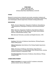 Curriculum Vitae - Writing Program - University of California, Santa