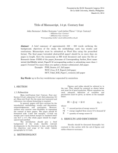 Format for full Paper with abstract 2014