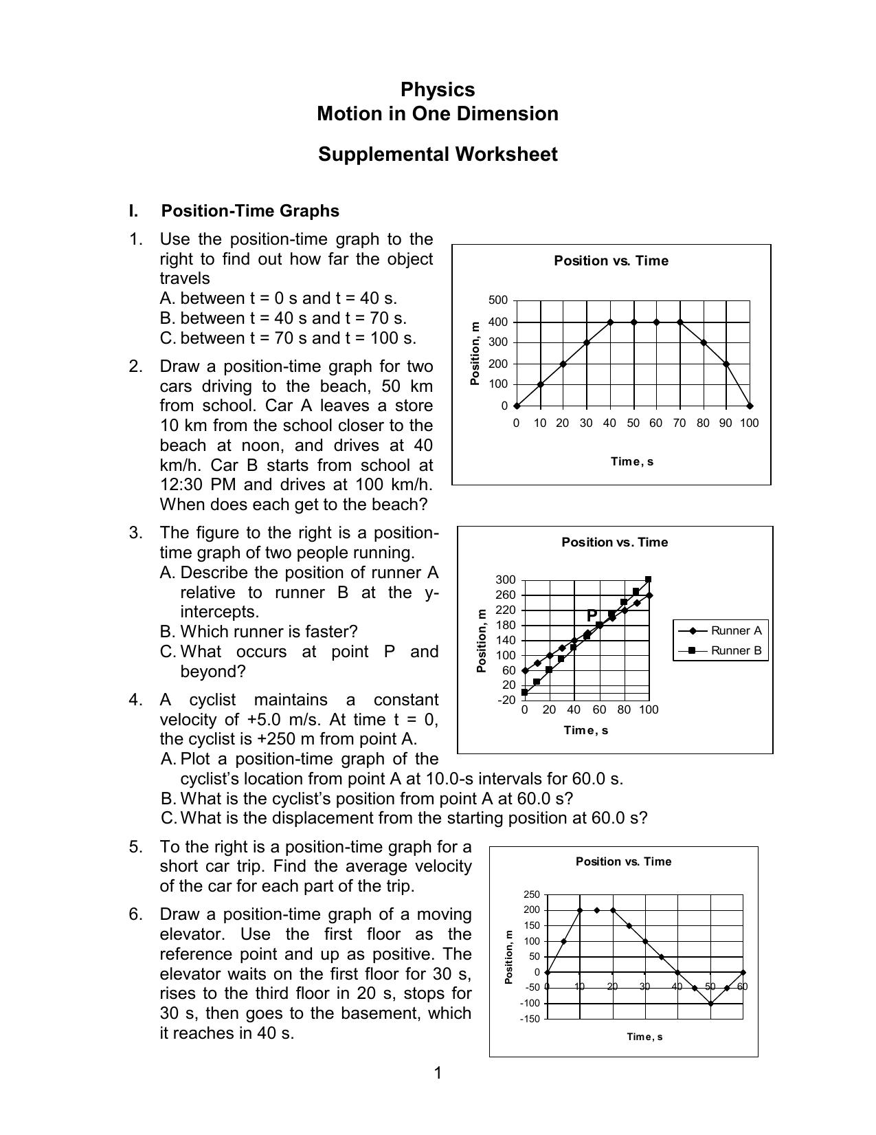 worksheet Position Time Graph Worksheet motion in 1 d worksheet