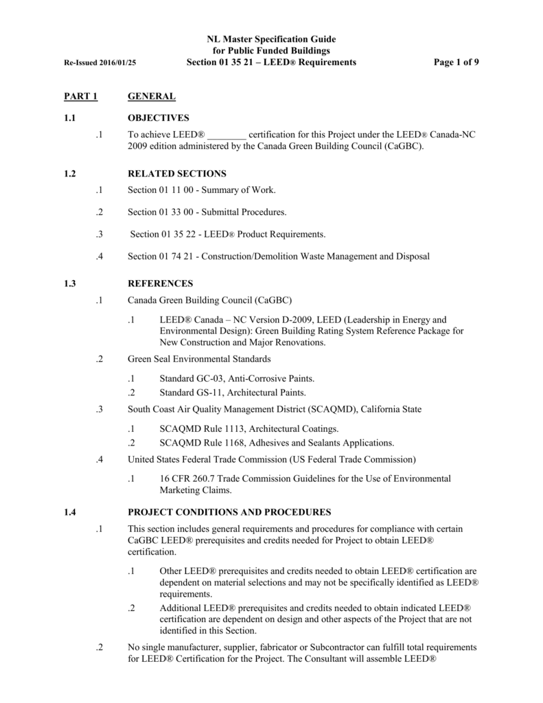 Section 01 35 21 Leed Requirements