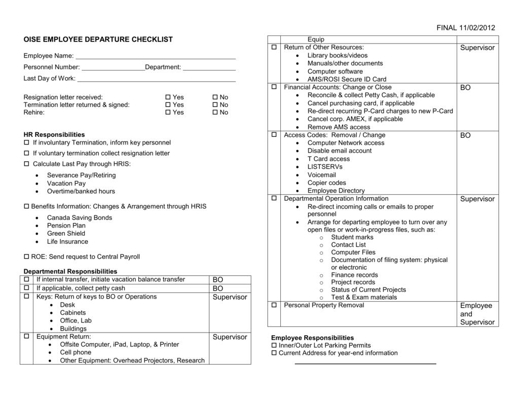 Termination Checklist