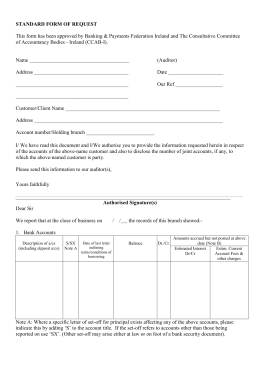 the Standard Form of Request to be sent by auditors