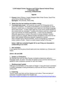 Minutes - LLAS Centre for Languages, Linguistics and Area Studies