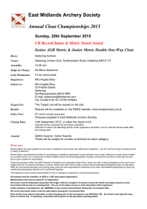 2015 EMAS Clout Entry Form - East Midlands Archery Society