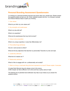 Personal Brand Assessment Questionnaire