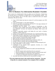 2004 Business Tax Information Reminder Checklist