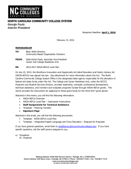 Memo Template - North Carolina Community College System