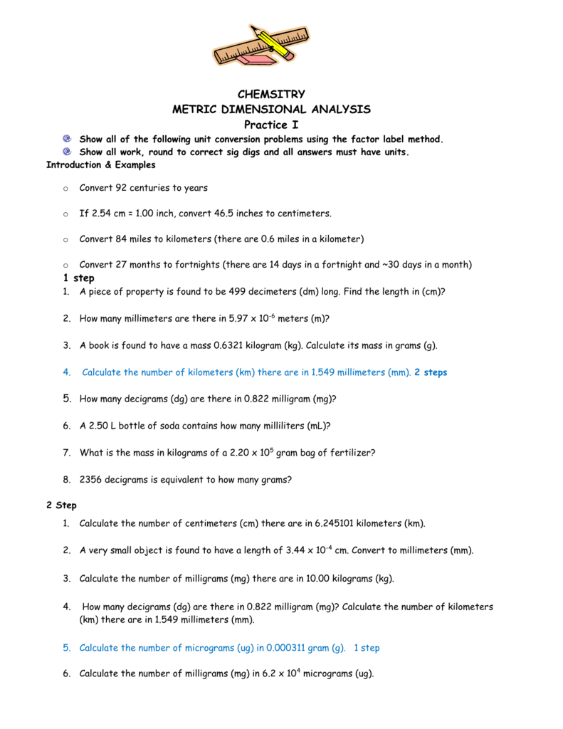 metric dimensional analysis worksheet Termolak – Dimensional Analysis Problems Worksheet