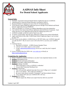 AADSAS Info Sheet for Dental School Applicants