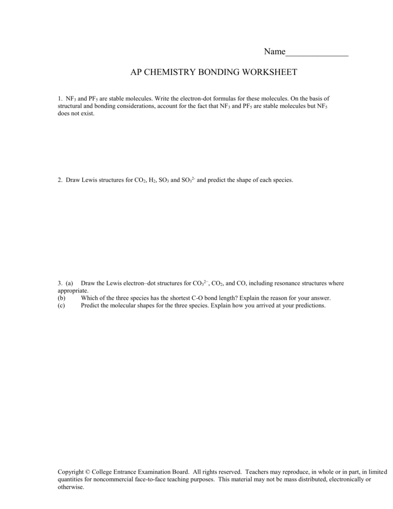 Name AP CHEMISTRY BONDING WORKSHEET – Drawing Lewis Structures Worksheet