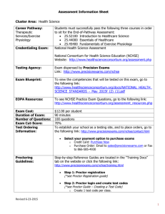 Assessment Information Sheet Cluster Area: Health Science Career