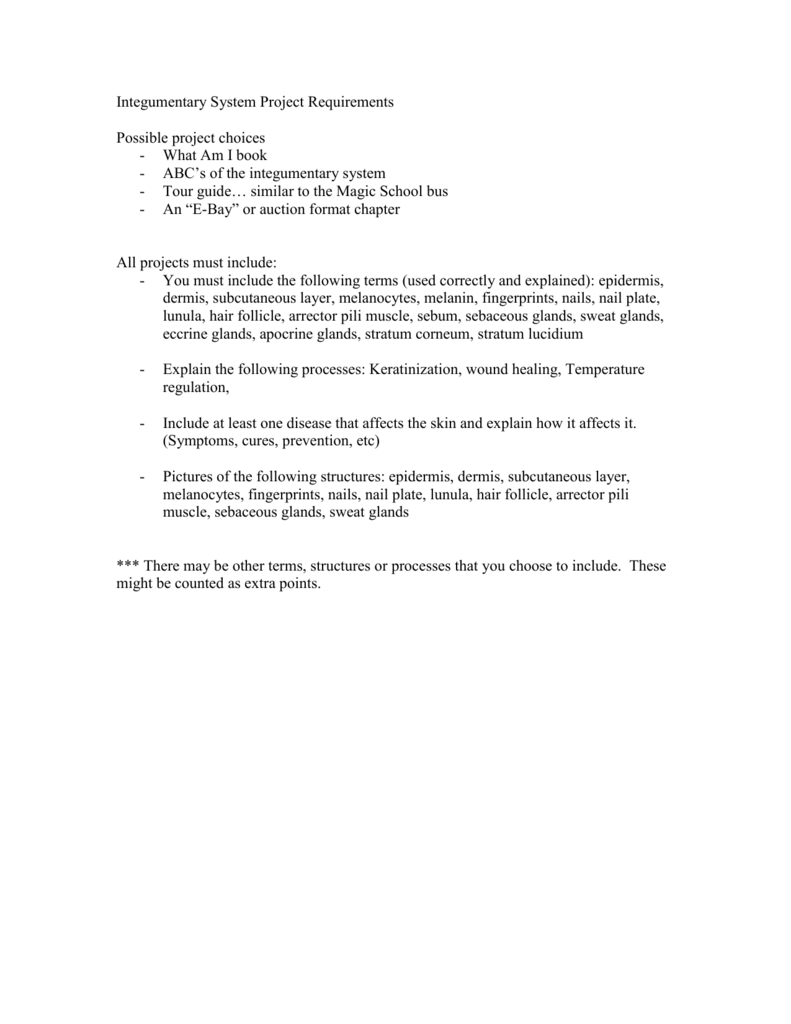 Integumentary System Project Requirements