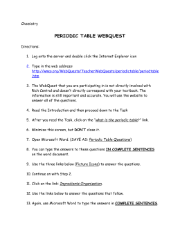 Science elements periodic table webquest urtaz Images