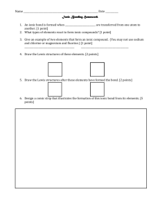 Ionic Bonding Homework - New York Science Teacher