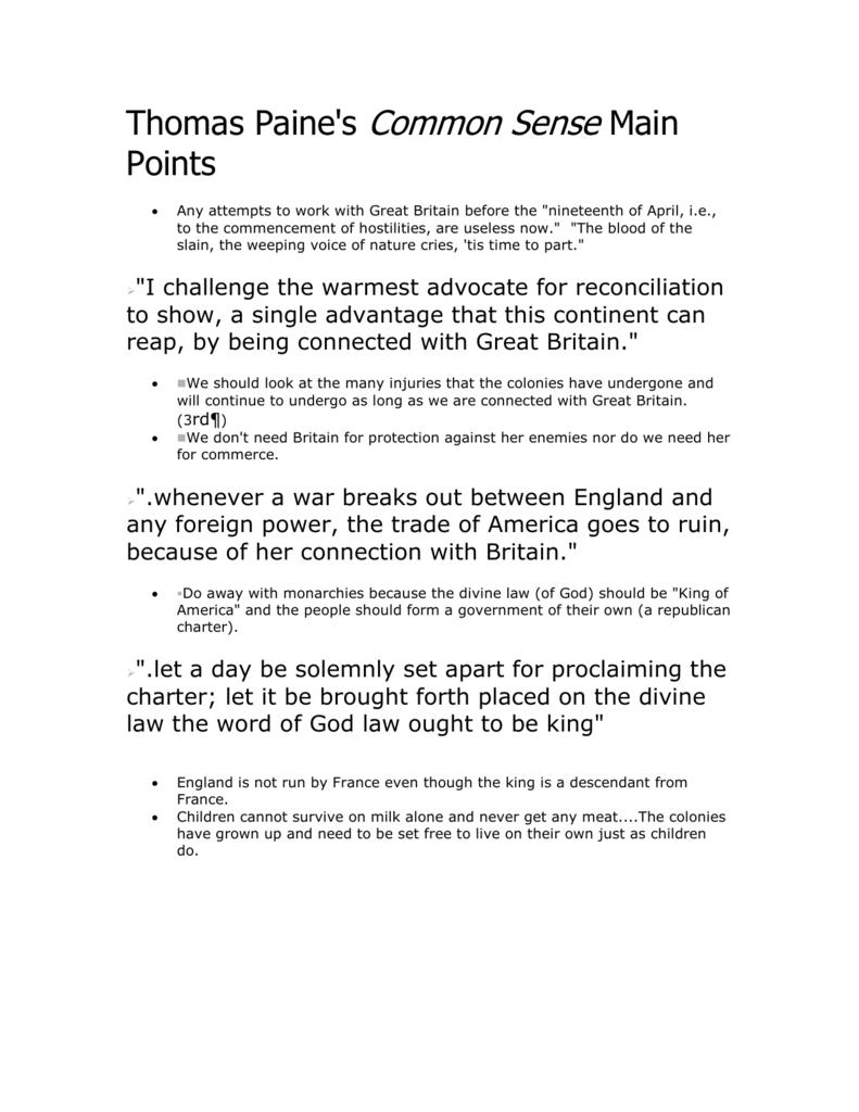 Thomas Paine's Common Sense Main Points