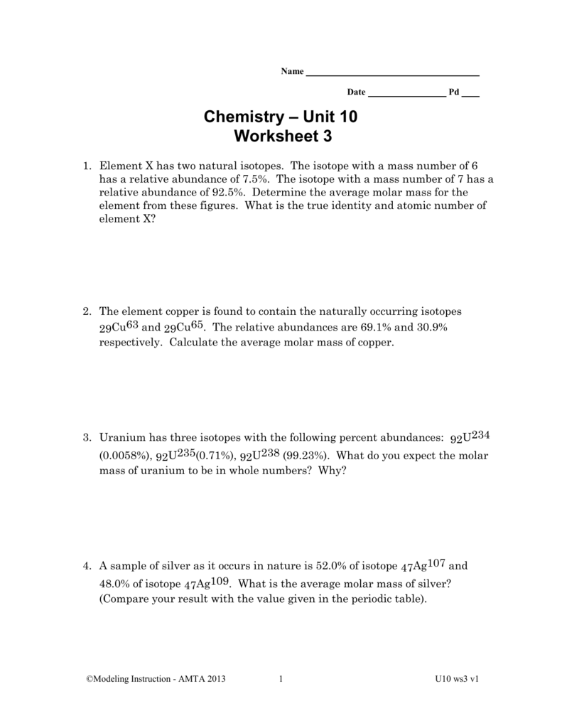 worksheet Calculating Atomic Mass Worksheet mean molar mass