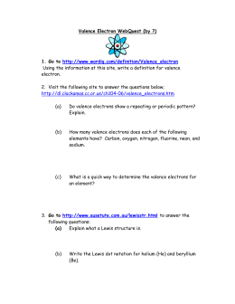 ELECTRON CONFIGURATION & OCTET RULE WORKSHEET