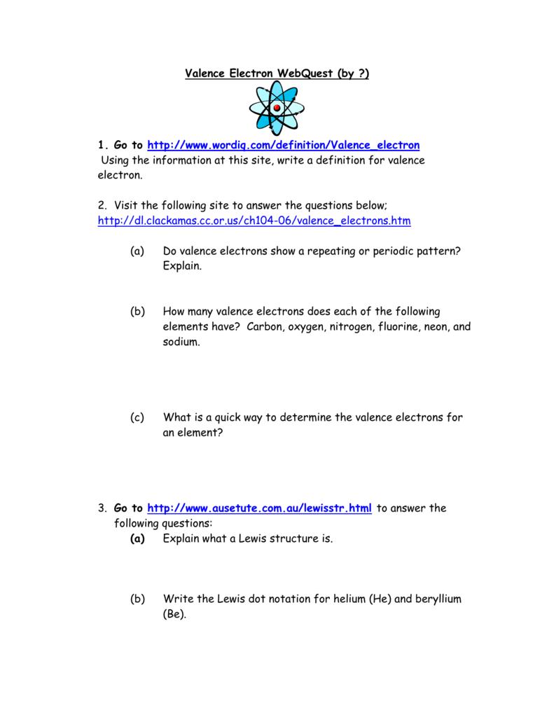 IA22 – Valence Electron WebQuest