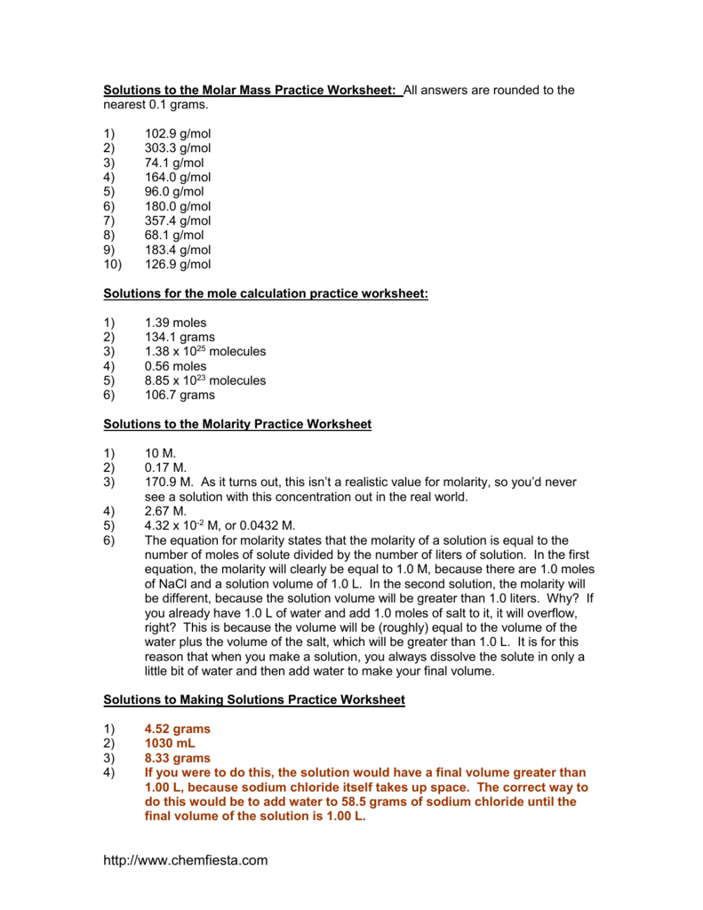 worksheet Molar Volume Worksheet molar mass practice worksheet