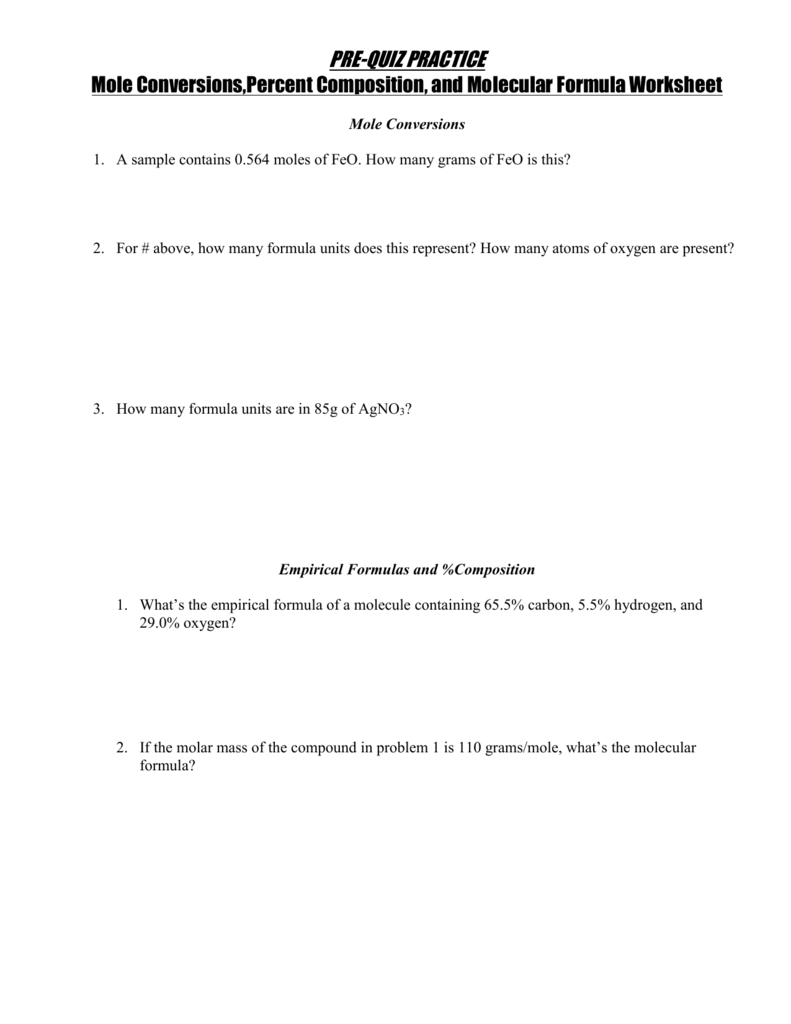 Percent Composition and Molecular Formula Worksheet – Chemistry Percent Composition Worksheet