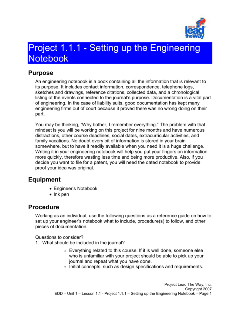 project1 1 1 setting up engineering notebook rh studylib net Best Robotics Engineering Notebook Examples Engineering Notebook Examples