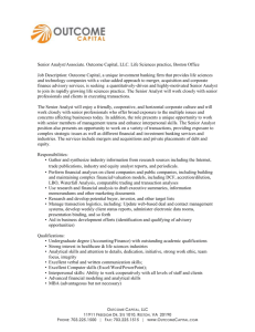 Senior Analyst/Associate. Outcome Capital, LLC. Life Sciences