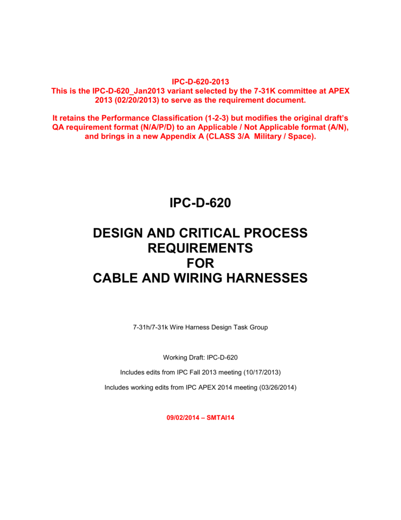 Wiring Harness Documentation Ipc D 620 090214 Smtai14 Final