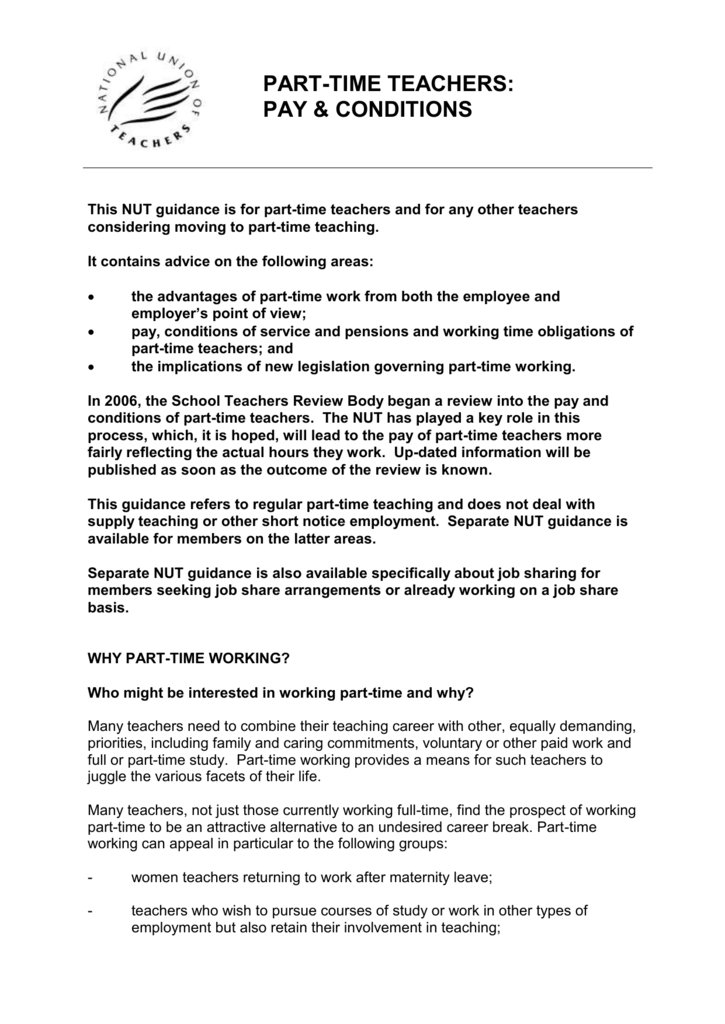 part-time teaching - National Union of Teachers