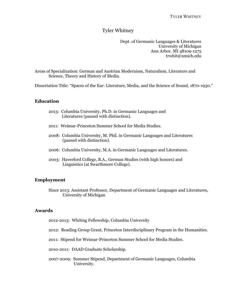 Curriculum Vitae College Of Literature Science And The Arts