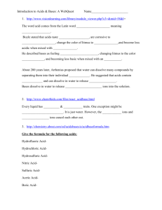 Introduction To Acids Bases A Webquest