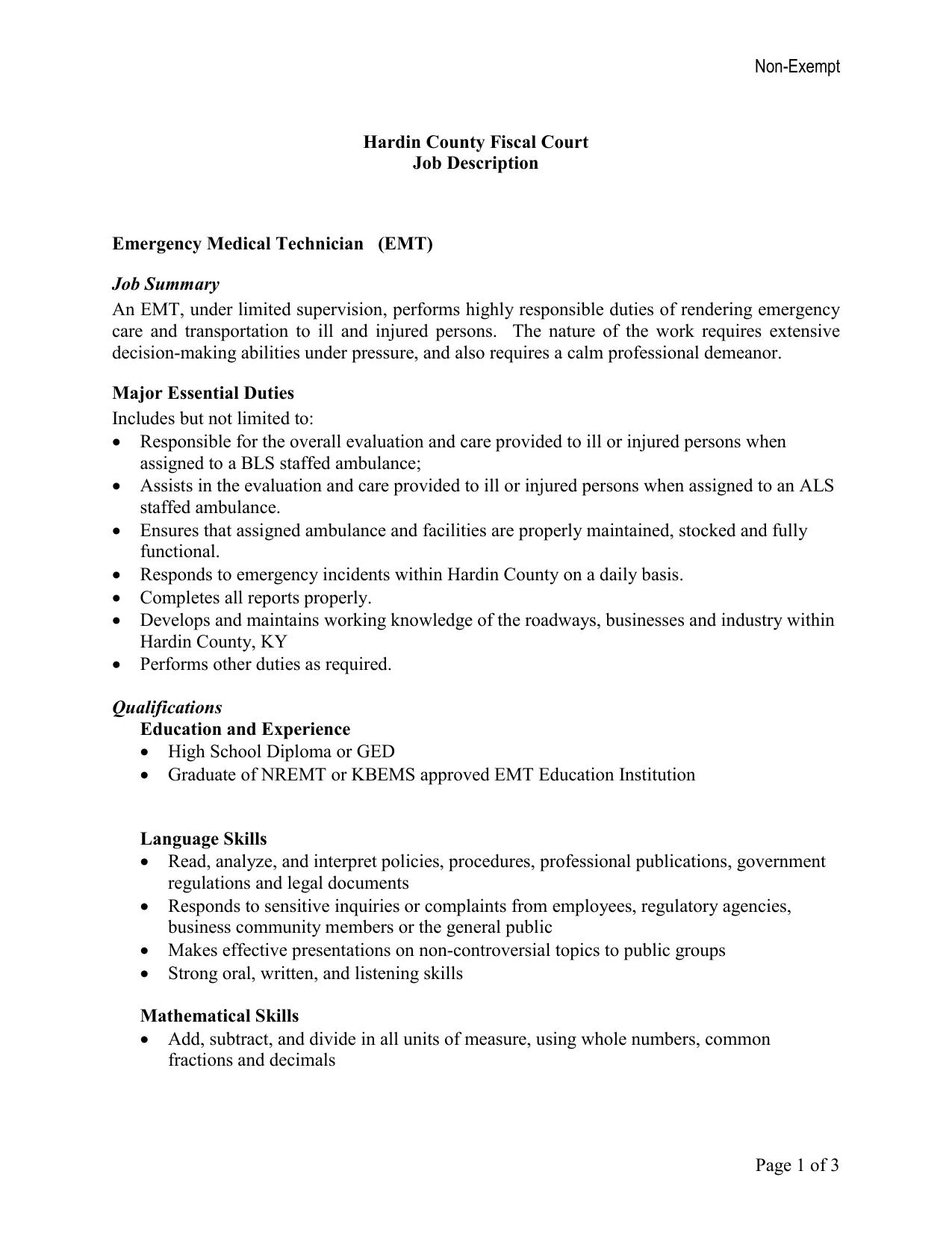 Job description for EMT's - Hardin County Government
