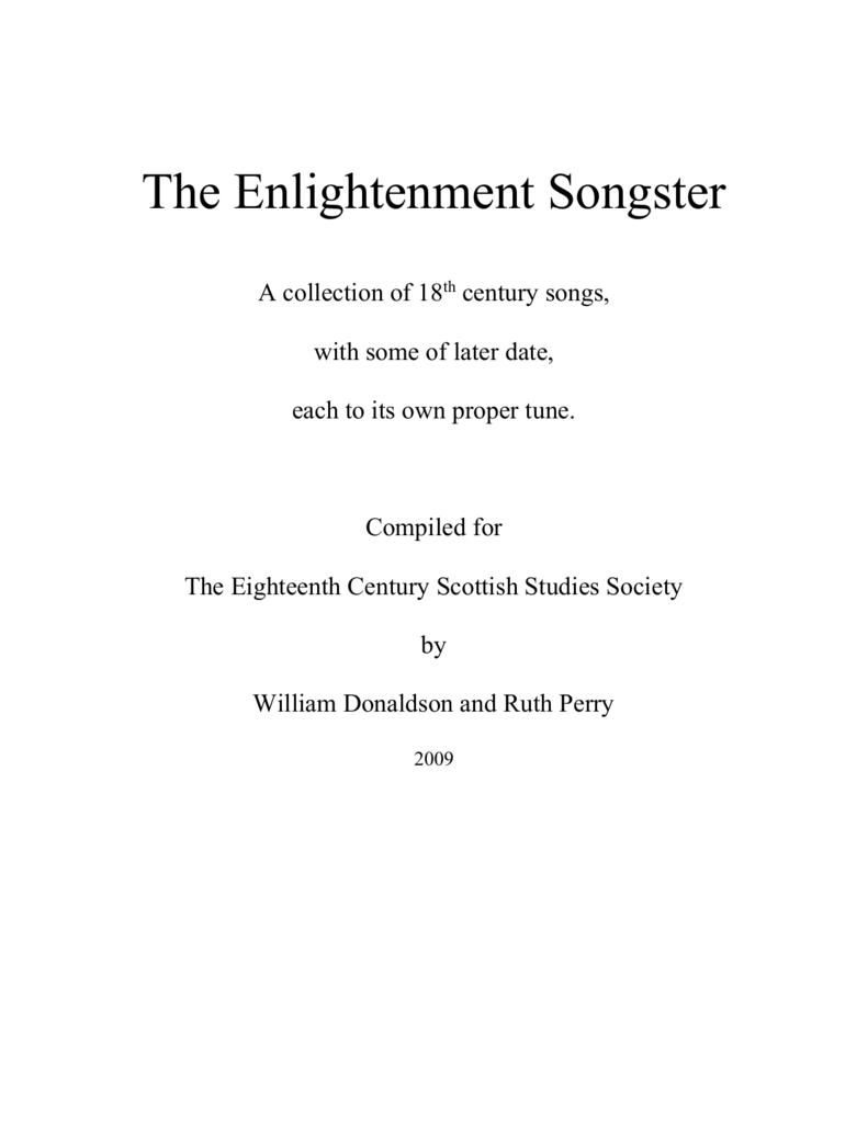 Enlightenment Songster University Of St Andrews