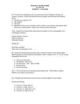 HOLIDAY HOME WORK CLASS VII SUBJECT – ENGLISH Q.1 You