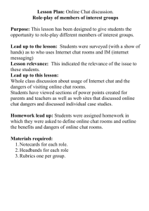 Lesson Plan: Online Chat discussion