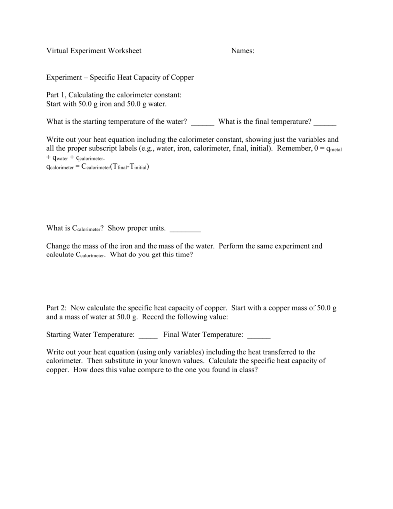 Worksheet Specific Heat And Heat Capacity Worksheet Grass Fedjp