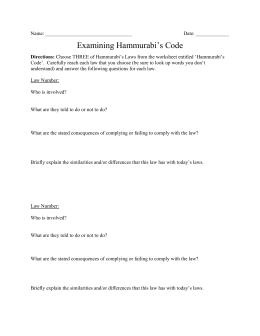 code of hammurabi worksheet. Black Bedroom Furniture Sets. Home Design Ideas