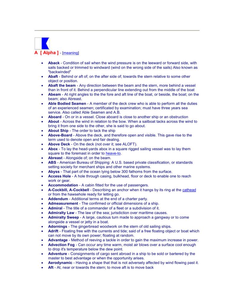 Glossary of Maritime Terms - Atlantic Maritime Academy