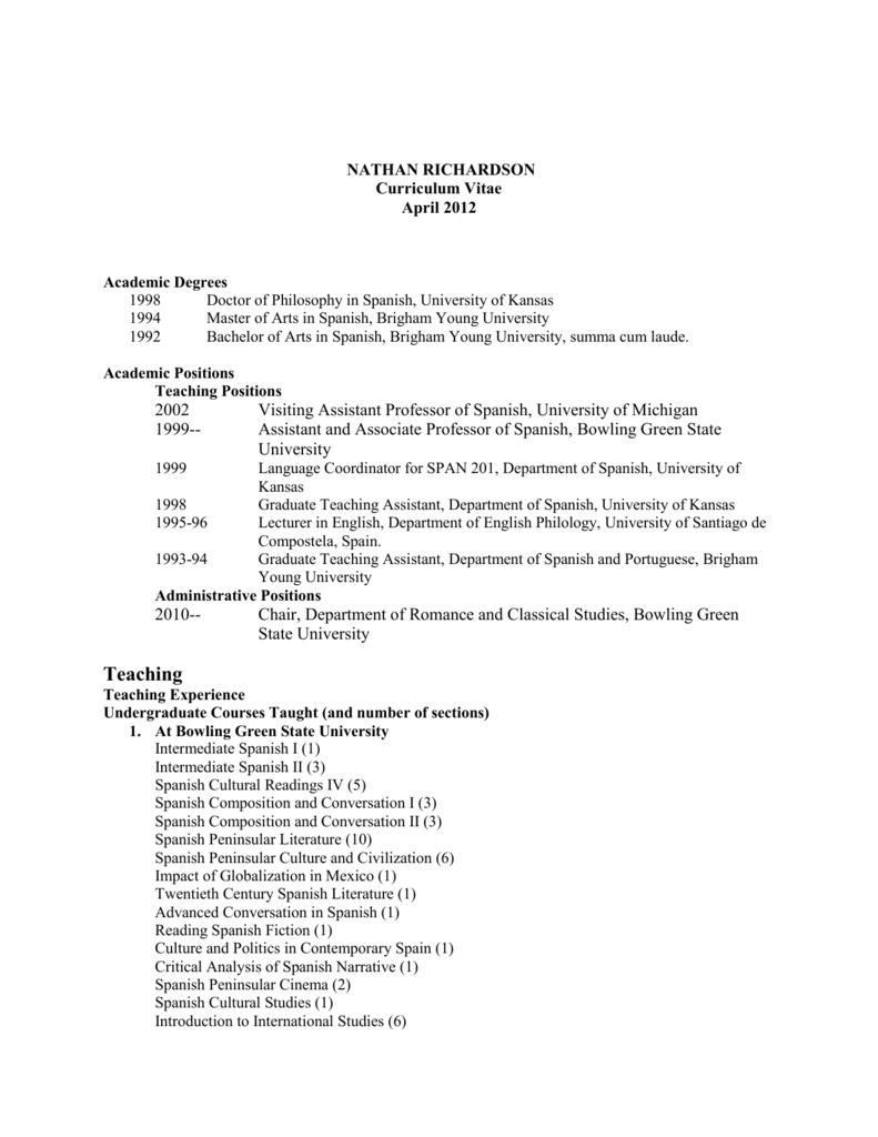 Curriculum Vitae - Bowling Green State University