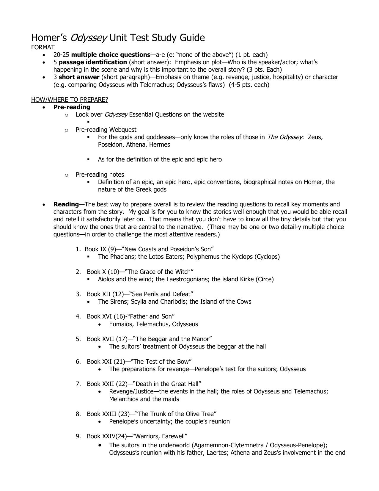 homer s odyssey unit test study guide rh studylib net The Odyssey Character Chart The Odyssey Book
